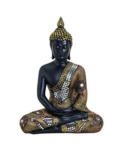 WOMA Deko Buddha Figur Sitzend mit Goldenen Verzierungen, Dekoration für Haus, Wohnung und Garten, 27cm hoch, Wetterfeste Skulptur aus Polyresin für Innen und Außen, Schwarz/Gold