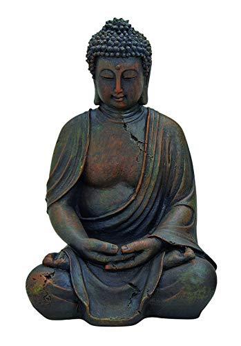 WOMA Deko Buddha Figur Sitzend aus Wetterfestem Polyresin, Dekoration für Haus, Wohnung und Garten, 30cm hoch, Skulptur für Innen und Außen, Braun