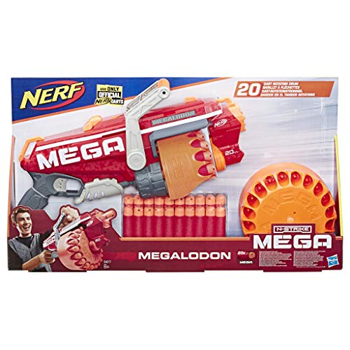 Hasbro Nerf E4217EU5 Megalodon N-Strike Blaster mit 20 Mega Whistler Darts