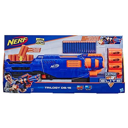 Hasbro E2853EU5 Trilogy DS-15 Nerf N-Strike Elite Spielzeug Blaster mit 15 Nerf Elite Darts und 5 Hülsen – Für Kinder, Teenager, Erwachsene
