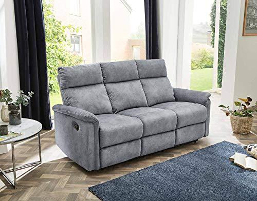 lifestyle4living Sofa mit Relaxfunktion in Grau, 3-Sitzer Relaxsofa, Vintage, Velour-Stoff/Federkern-Polsterung | Gemütliche Relax-Couch in modernem Design