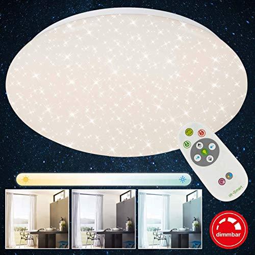 Briloner Leuchten - LED Deckenleuchte Dimmbar, inkl. Fernbedienung, Farbtemperatursteuerung, Deckenlampe 15 Watt, 1300 Lumen, Durchmesser 29.3 cm, Weiß