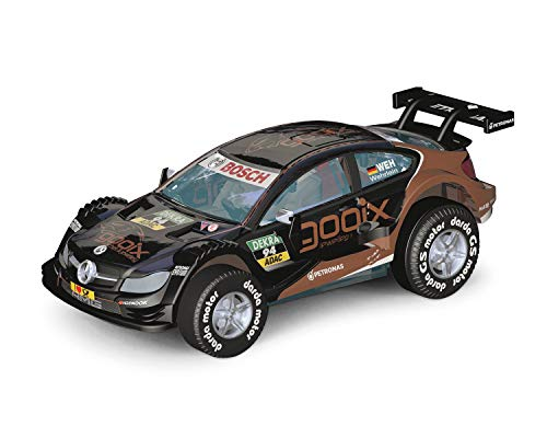 Darda 50395 Auto Mercedes-Benz C-Coupé DTM Wehrlein, Rennauto mit auswechselbaren Rückzugsmotor, Fahrzeug mit Aufziehmotor für Kinder ab 5 Jahre, Rückziehauto Rennbahnen, schwarz