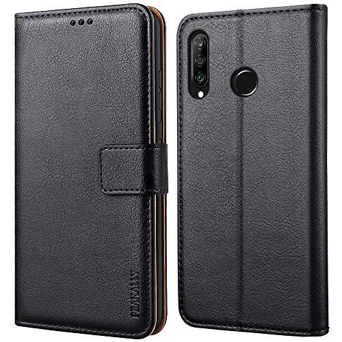 Peakally Huawei P30 Lite Hülle, Premium Leder Tasche Flip Wallet Case [Standfunktion] [Kartenfächern] PU-Leder Schutzhülle Brieftasche Handyhülle für Huawei P30 Lite-Schwarz