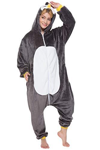 corimori 1852 Pablo der Pinguin Damen Herren Onesie Jumpsuit Anzug Einteiler Kostüm Verkleidung Gr. 160 - 170cm, Schwarz