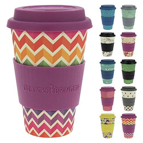 ebos Glücksbringer Coffee-to-Go-Becher aus Bambus   Kaffe-Becher, Trink-Becher   wiederverwendbar, natürliche Materialien, umweltfreundlich, lebensmittelecht, spülmaschinengeeignet (Jagged Rainbow)
