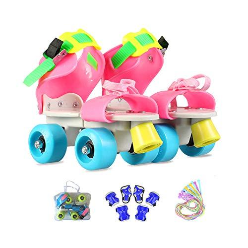 ZCRFY Rollschuhe Kinder verstellbar Für Mädchen Jungen Anfänger Outdoor Mit Schutzausrüstung Rollers Geburtstag Presen,Pink1-(25-36) Code