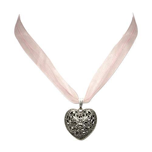 Trachtenkette Organzaband mit Trachtenherz - Damen Dirndlkette, Herz Organzakette für Trachtenbluse und Lederhose, Dirndl-Schmuck fürs Oktoberfest (rosé)
