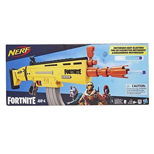 Nerf E6158EU4 AR-L Motorisierter Spielzeug Blaster, 20 Fortnite Elite Darts, Klappvisier - Für Jugendliche und Erwachsene, Mehrfarbig