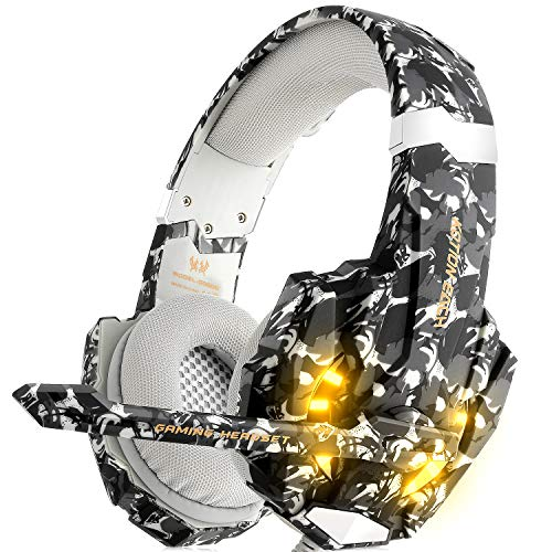 Gaming Headset für PS4 Xbox One PC, DIZA100 Gaming Kopfhörer mit Mikrofon, LED Light Bass Surround,Aluminiumgehäuse für Computer Laptop Mac Nintendo Switch Spiele (Camouflage)
