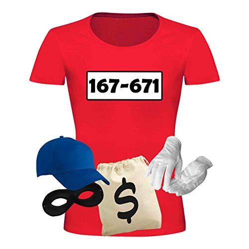 T-Shirt Panzerknacker Kostüm-Set Deluxe+ Cap Maske Karneval Damen XS - 3XL Fasching JGA Sitzung Weiberfastnacht, Größe:XS, Logo & Set:Standard-Nr./Set Deluxe+ (167-761/Shirt+Cap+Maske+Hands.+Beutel)