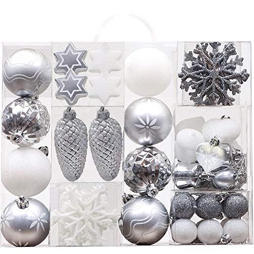 Victor's Workshop 50tlg. Weihnachtskugeln Weiss Silber Weihnachtsbaumschmuck Plastik Weihnachtsschmuck für Weihnachten Deko Anhänger MEHRWEGVERPACKUNG