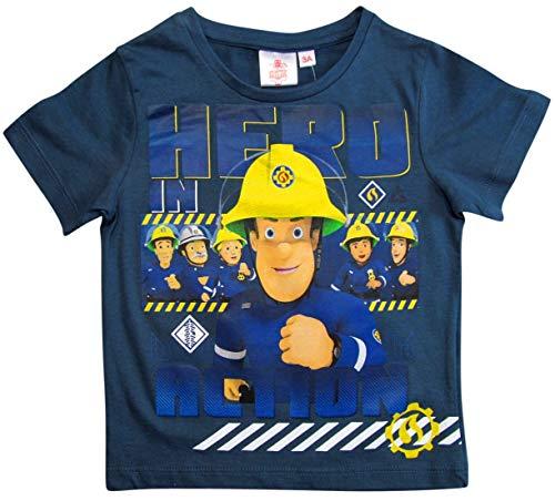 Feuerwehrmann Sam T-Shirt Jungen Rundhalsausschnitt (Blau, 98-104)