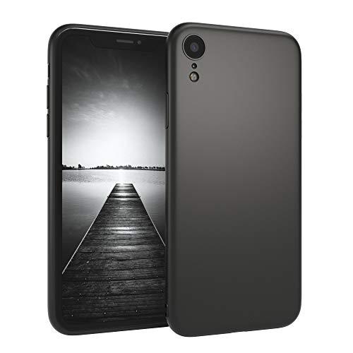 EAZY CASE Handyhülle Silikon mit Kameraschutz für Apple iPhone XR in schwarz matt, Ultra dünn, Slimcover, Silikonhülle, Hülle, Softcase, Backcover