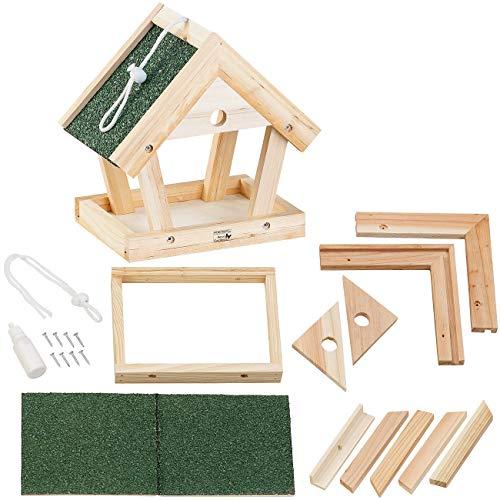 Royal Gardineer Vogelfutterhaus: Vogel-Futterhaus-Bausatz aus Echtholz, zum Aufhängen, 13-teilig (Vogelhaus Futterhaus Bausatz)