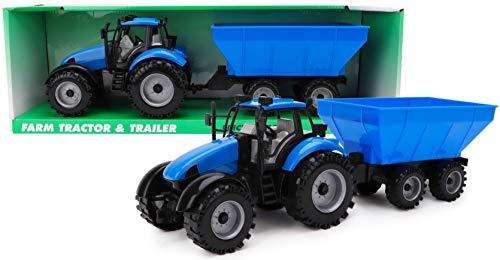 Toyland® Reibungsbetriebener Traktor mit Anhänger - Blau - Boys Farm Toys