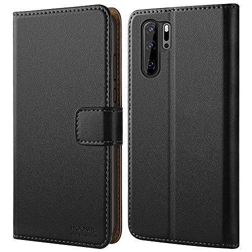 HOOMIL Handyhülle für Huawei P30 Pro Hülle, Premium PU Leder Flip Case Schutzhülle für Huawei P30 Pro Tasche, Schwarz
