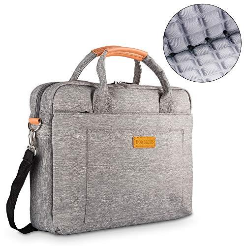 DOB SECHS 15-15.6 Zoll Laptoptasche Aktentaschen Handtasche Tragetasche Schulter Tasche Notebooktasche Laptop Sleeve Laptop hülle für bis zu 15-15.6 Zoll Laptop Dell Alienware/MacBook/Lenovo/HP, Grau