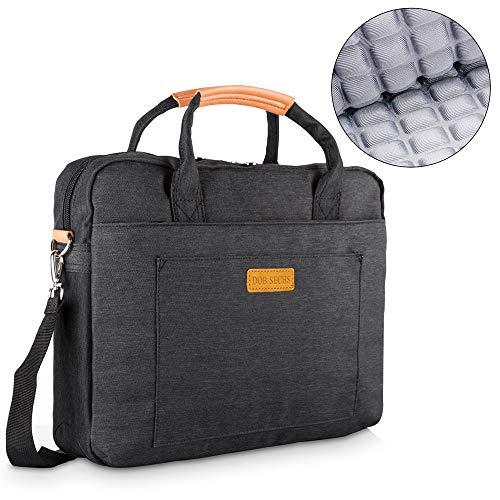 DOB SECHS 15-15.6 Zoll Laptoptasche Aktentaschen Handtasche Tragetasche Schulter Tasche Notebooktasche Laptop Sleeve Laptop hülle für bis zu 15-15.6 Zoll Laptop Dell/MacBook/Lenovo/HP,Schwarz
