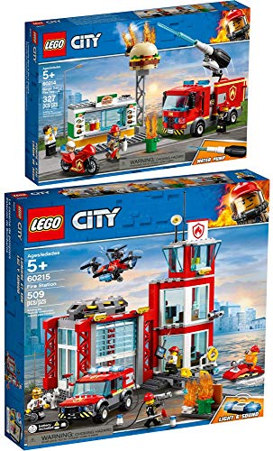 LEGO® City 2er Set 60214 60215 Feuerwehreinsatz im Burger-Restaurant + Feuerwehr-Station