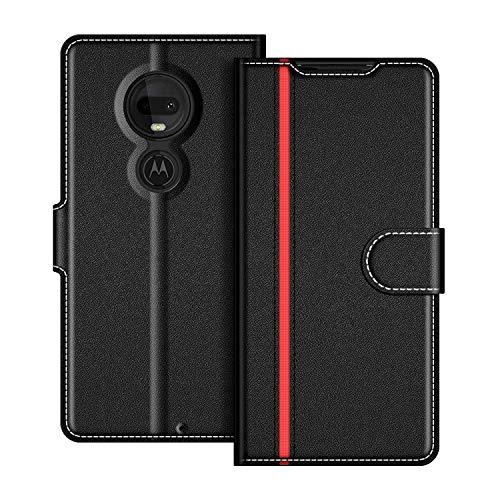 COODIO Handyhülle für Motorola Moto G7 Handy Hülle, Motorola Moto G7 Plus Hülle Leder Handytasche für Motorola Moto G7 / G7 Plus Klapphülle Tasche, Schwarz/Rot