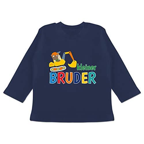 Geschwister Bruder und Schwester - Kleiner Bruder Bagger - 3/6 Monate - Navy Blau - Kleiner Bruder - BZ11 - Baby T-Shirt Langarm