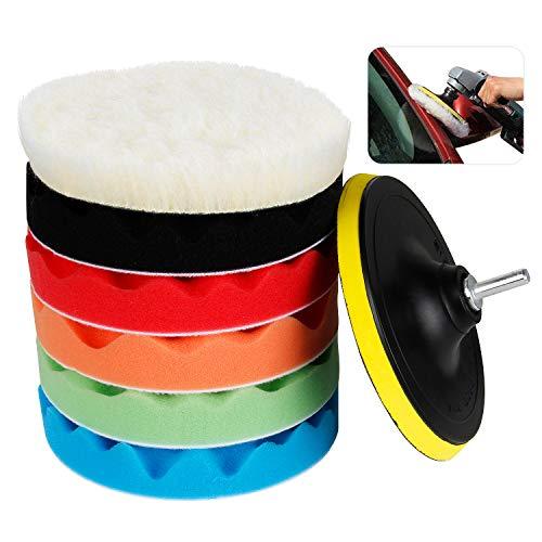 KOROSTRO Auto Polierschwamm, Auto Polierpad Set 6 Inchs Polierteller aus Schwamm und Wolle Polieraufsatz Bohrmaschineb Polierset für Schleifmaschine Poliermaschine, 7 Pack