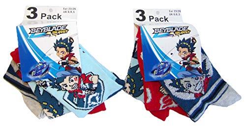 Beyblade Burst Let it Rip! Socken blau, rot, dunkelblau/grau mit verschiedenen Motiven von Valt und Shu, für Kinder, Jungen als 6er Pack (27/30)