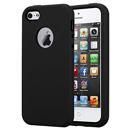 Cadorabo Hülle für Apple iPhone 5 / iPhone 5S / iPhone SE in Onyx SCHWARZ – Hybrid Handyhülle mit TPU Silikon Innenseite und 2teiliger Kunststoff Außenseite – Schutzhülle Hybrid Hardcase Back Case