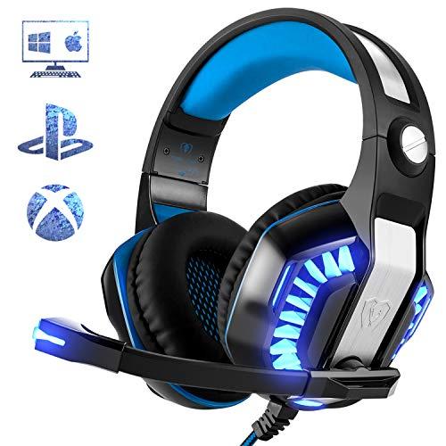 Gaming Headset für PS4 PC Xbox One, Beexcellent LED Licht Professional Deep Bass Sourround Gaming Kopfhörer mit Mikrofon für Laptop Mac Tablet