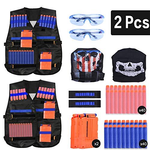 EXTSUD 2er Taktische Weste Jacke Set für Kinder,Taktische Jacke Set für Nerf Guns N-Strike Elite,Kids Tactical Vest für Nerf Zubehör Set mit 80 Darts Nachfüllpack für Nerf Guns N-Strike Elite-Serie