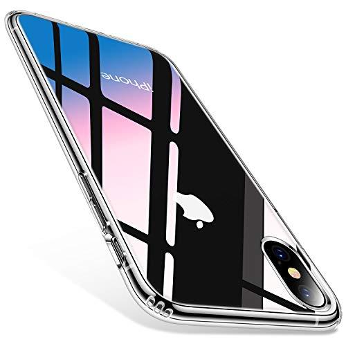 TORRAS Diamond Series für iPhone X Hülle/iPhone XS Hülle mit Panzerfolie, Voller Schutz Schutzhülle Hard Back und Soft Bumper Case Handyhülle für iPhone X/XS-Transparent