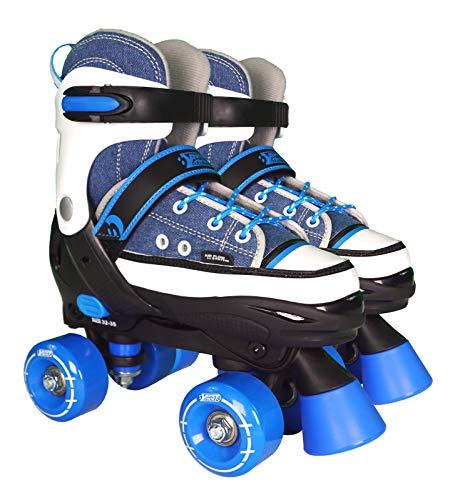 Best Sporting Rollschuhe für Kinder und Jugendliche, Größe verstellbar, ABEC 7 Carbon, Farbe: blau/weiß, Größe: 36-39