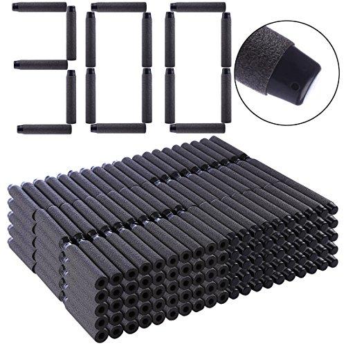 Batop 300 Stück Schwarze Darts Weich Pfeile Schwarz für Nerf Elite/Nerf Rebelle/Nerf Modulus/Nerf Zombie/Nerf Fortnite