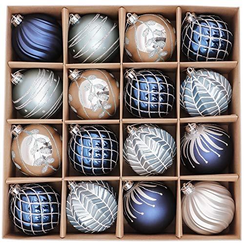 Valery Madelyn Weihnachtskugeln 16 Stücke 8CM Kunststoff Christbaumkugeln Weihnachtsdeko mit Aufhänger Weihnachtsbaumschmuck für Dekoration Winterwünsches Thema Silber Blau MEHRWEG Verpackung