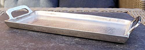 MichaelNoll Tablett Servierbrett Dekoteller Servierplatte Aluminium Silber S 46,5 cm