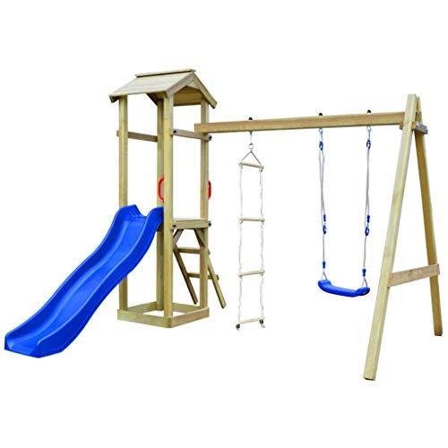 vidaXL Holz Spielturm mit Rutsche Leitern Schaukel Kletterturm Spielhaus