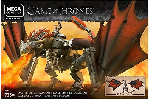Mega Construx GKG97 - Game of Thrones Daenerys und Drogon, Bauset mit 735 Bausteinen und Actionfigur