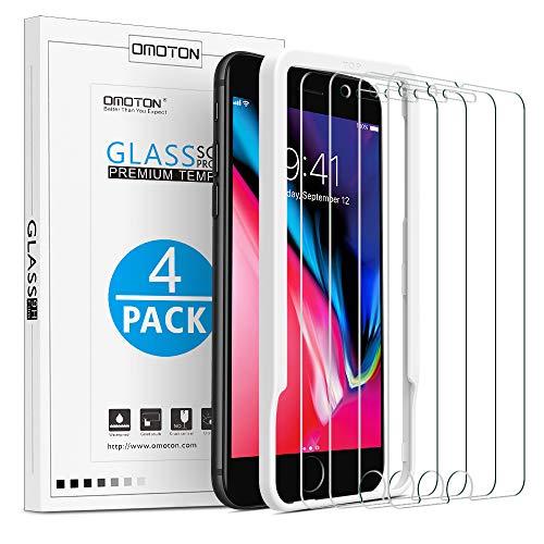 [4 Stück] OMOTON Schutzfolie kompatible mit iPhone 8 Plus und iPhone 7 Plus,mit Schablone,9H Härte, Anti-Kratzen, Anti-Öl, Anti-Bläschen, 2.5D