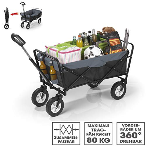 EASYmaxx Bollerwagen faltbar   robust, witterungsbeständig, pflegeleicht   Ausziehbarer Teleskopgriff- Rahmen aus Stahlrohr   Tragfähigkeit ca. 80 kg [schwarz/grau]