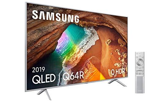 Samsung 55Q64R QLED 4K 2019 - 55 Smart-TV mit 4K-UHD-Auflösung, höchster Ultra-Dimmung, Q HDR, künstlicher Intelligenz 4K, Metalldesign, Premium One-Fernbedienung, Apple TV und kompatibel mit Alexa