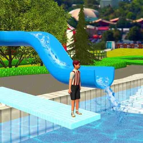 Extreme Water Park Slide: Bergauf Sommer-Sommerspiele für Kinder