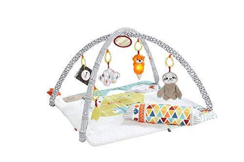 Fisher-Price GKD45 - 5 Sinnes Baby Spieldecke kuschelig weiche Krabbeldecke mit Sensorik Spielzeug, Babyaustattung ab Geburt