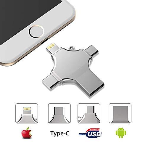 Externer Speicher für iPhone, USB Stick 32/64/ 128GB, 4 in 1 USB Memory Stick- USB Flash Drive Metall Speicherstick Speichererweiterung für Apple iPhone iPad Android Laptop Notebook USB 2.0 Silber