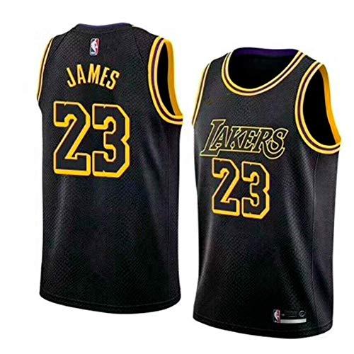 Basketballtrikot für Herren Lebron James #23 - NBA Lakers, Neu Stoff Bestickt Swingman Jersey Hemd (Größe: S-XXL)