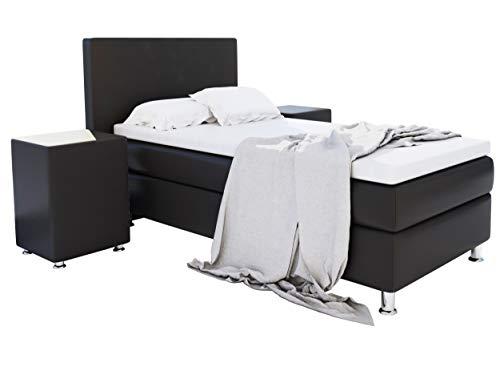 Home Collection24 GmbH Boxspringbett 90x200 cm mit Federkern-Matratze Topper in H3 Hotelbett Einzelbett Kostenlose Anlieferung, Farbe:Schwarz