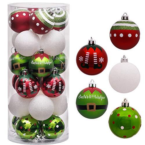 Victor's Workshop Weihnachtskugeln 24tlg.6cm Christbaumkugeln Weihnachtsbaumschmuck Plastik Ornament mit Anhänger für Party Weihnachtsdeko Herrliches Weihnachten Thema Rot Grün Weiß MEHRWEGVERPACKUNG