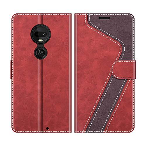 MOBESV Handyhülle für Motorola Moto G7, Motorola Moto G7 Plus Hülle Leder, Motorola Moto G7 Klapphülle Handytasche Case für Motorola Moto G7 / Moto G7 Plus Handy Hüllen, Modisch Rot
