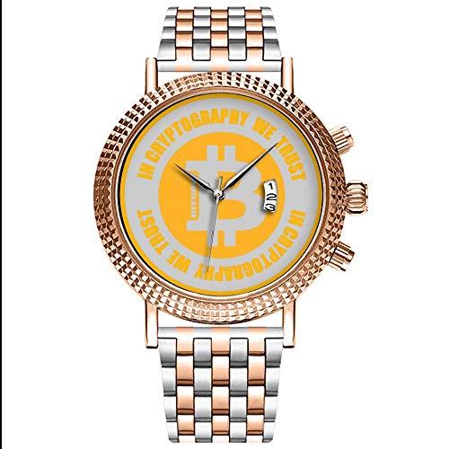 Mode wasserdichte Herren-Armbanduhr Analog Quarz Edelstahl Mit Gold 488.Bitcoin In Kryptographie Vertrauen wir Uhren