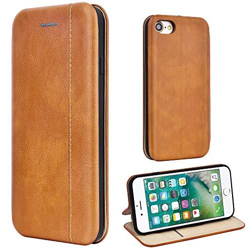 Leaum Leder Handyhülle für iPhone 7 Hülle, iPhone 8 Hülle, Premium iPhone SE 2020 Handytasche Flip Schutzhülle für Apple iPhone 7/8/SE 2020 Tasche (Braun)